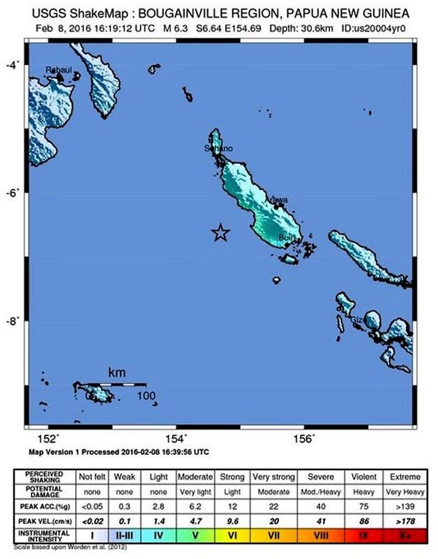 Papua Uusi Guinean Edustalla Voimakas Maanjaristys Maailma